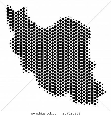 Halftone Hexagonal Iran Map. Vector Geographic Map On A White Background. Vector Concept Of Iran Map