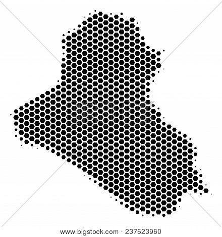 Halftone Hexagonal Iraq Map. Vector Geographic Map On A White Background. Vector Collage Of Iraq Map