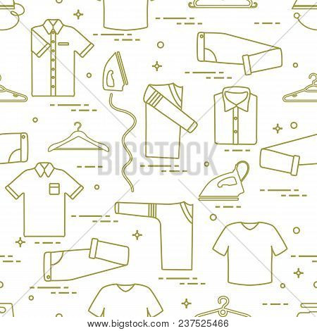 Seamless Pattern With Irons, Clothes Hangers And Different Clothes. Design For Banner And Print.
