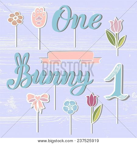 Vector Set With Bunny, One, Flowers, Paw, Ribbon. Bunny, One Handwritten Lettering As Patch, Stick C