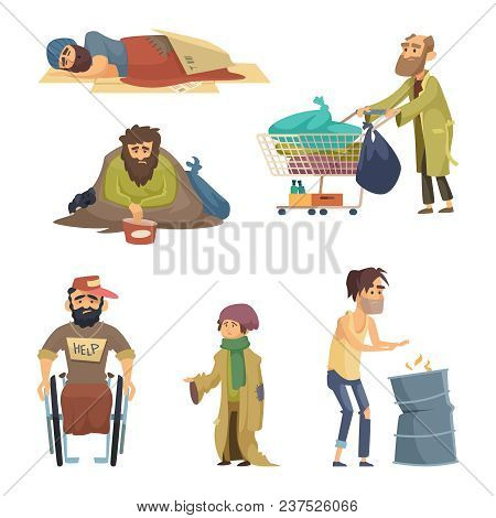 Unhappy Dirty Poor And Desperate Peoples. Vector Characters Set Of Homeless Hungry And Unhappy, Man