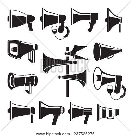 Set Monochrome Pictures Of Megaphones. Vector Symbols Of Advertising. Illustration Of Megaphone And