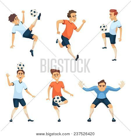 Soccer Characters In Different Action Poses. Vector Soccer Team, Sport Action With Ball Illustration