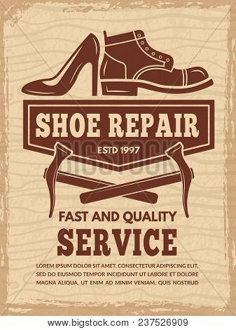 Poster With Illustrations Of Shoe Repair Workshop. Vector Repair Shoe, Footwear Shoemaker Banner Ill