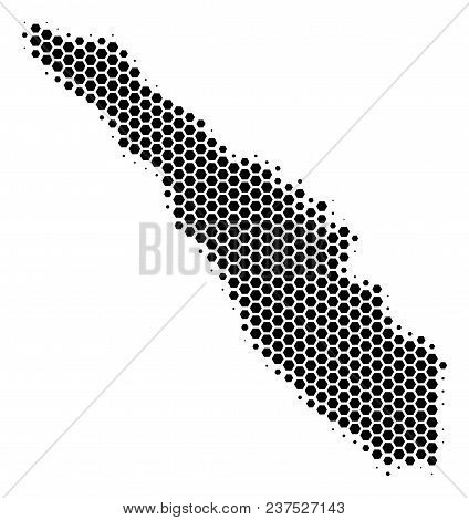 Halftone Hexagonal Sumatra Island Map. Vector Geographical Map On A White Background. Vector Collage