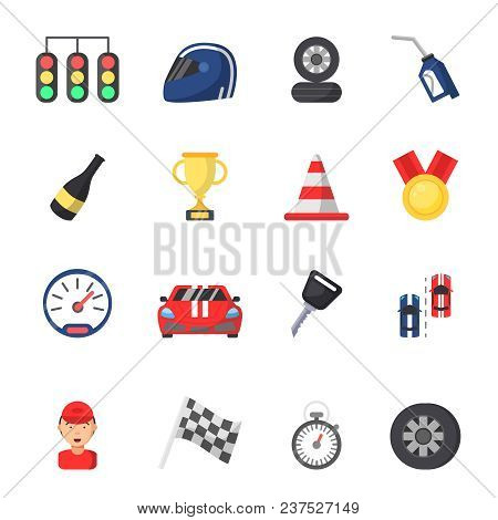 Sport Symbols Of Racing. Car, Motor, Track And Other Flat Icons. Vector Sport Vehicle, Auto Motor Ch