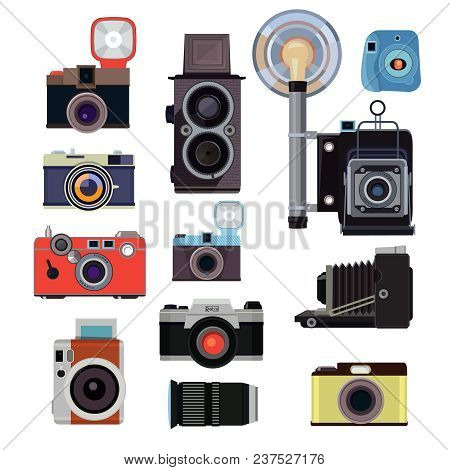 Retro Old Cameras And Symbols For Photographers. Vector Flat Pictures. Illlustration Of Photographer