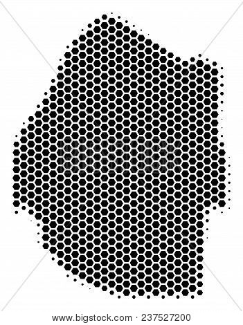Halftone Hexagon Swaziland Map. Vector Geographic Map On A White Background. Vector Composition Of S