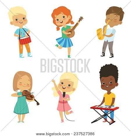 Various Cartoon Kids Musicians. Musical Happy Children, Entertainment And Art Hobby Illustration