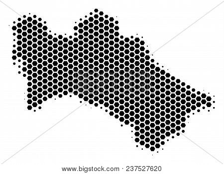 Halftone Hexagonal Turkmenistan Map. Vector Geographical Map On A White Background. Vector Concept O
