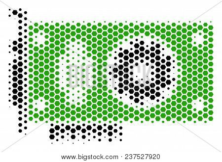 Halftone Hexagon Video Gpu Card. Vector Geographical Map On A White Background. Vector Concept Of Vi
