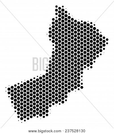 Halftone Hexagonal Yemen Map. Vector Geographical Map On A White Background. Vector Collage Of Yemen
