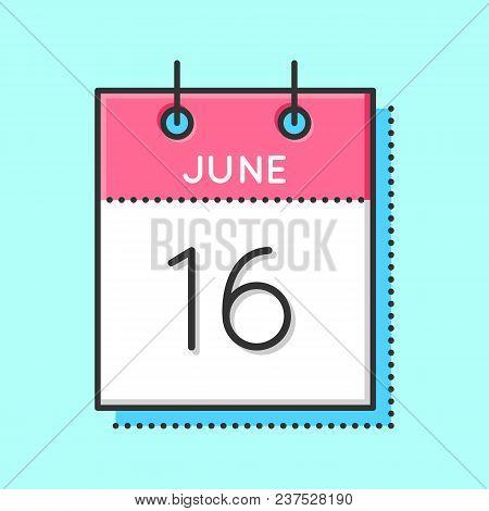 Vector Calendar Icon. Flat And Thin Line Vector Illustration. Calendar Sheet On Light Blue Backgroun