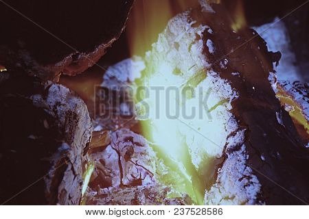 Extreme Close Up View To Camp Fire Flames, Fire Charcoal Fire Wood. Changing Depth Of Field