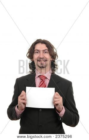 Young Businessman Holding One Advert