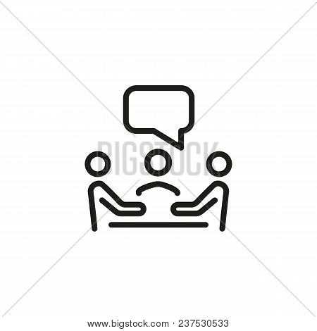 Meeting Line Icon. Team, Speech Bubble, Table. Negotiation Concept. Can Be Used For Topics Like Conf