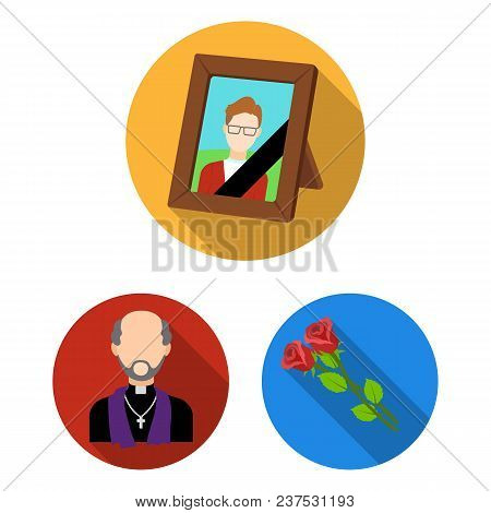 Funeral Ceremony Flat Icons In Set Collection For Design. Funerals And Attributes Vector Symbol Stoc