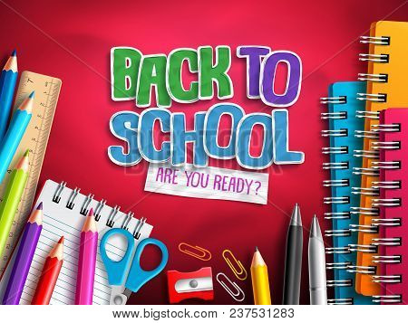 Back To School Vector Design With Education Elements, School Supplies And Colorful Paper Cut Back To