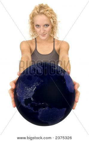 Woman Holding The Earth As Seen At Night