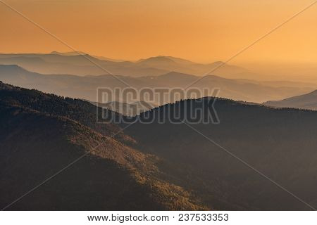 French Landscape - Vosges. View From The Grand Ballon In The Vosges (france) Towards The Massif In T