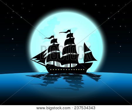 Large Marine In The Night Of Full Moon;blue Ocean With Marine At Midnight With Full Moon;star On The