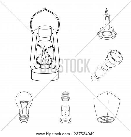 Light Source Outline Icons In Set Collection For Design. Light And Equipment Vector Symbol Stock  Il