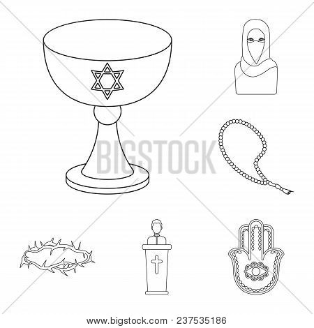 Religion And Belief Outline Icons In Set Collection For Design. Accessories, Prayer Vector Symbol St