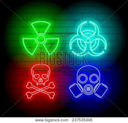 Warning Neon Silhouette Of Biohazard Icons. Neon Style Sign Illustration. Brickwall As Background.