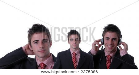 Three Clone Businessman Isolated On White