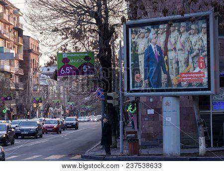 Yeravan, Armenia - April 1: Election Poster Of The Republican Party Of Armenia Portraying President