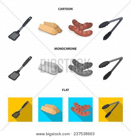 Blade Kitchen, Firewood, Sausages And Other For Barbecue.bbq Set Collection Icons In Cartoon, Flat,