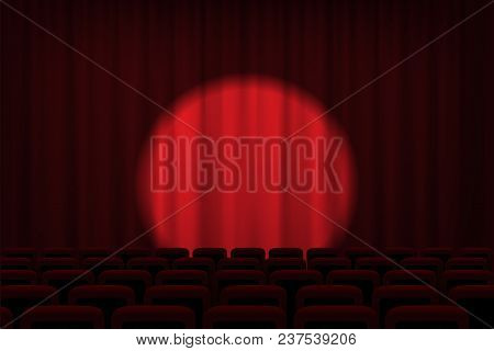 Cinema Or Theater Stage With Spotlight On Red Curtains And Chairs. Vector Theater, Cinema Or Circus