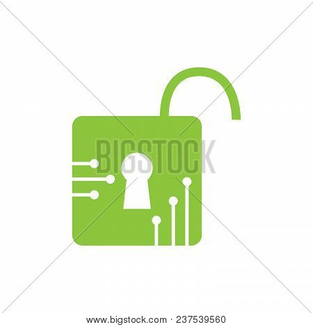 Padlock Tech Logo Concept- Vector Logo Concept Illustration. Security Logo Sign. Concept Technology