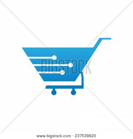 Tech Shopping Logo Concept- Vector Logo Concept Illustration. Shopping Network Logo Sign. Online Sho