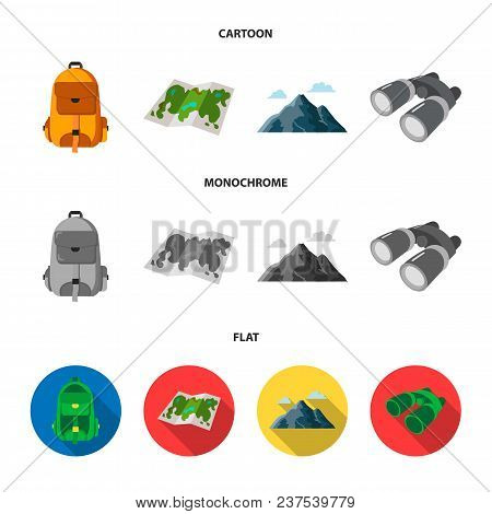 Backpack, Mountains, Map Of The Area, Binoculars. Camping Set Collection Icons In Cartoon, Flat, Mon