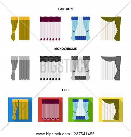 Curtains, Drapes, Garters, And Other  Icon In Cartoon, Flat, Monochrome Style. Textiles, Furniture B