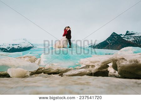 Iceland Wedding In Glacier Lagoon. Full Length