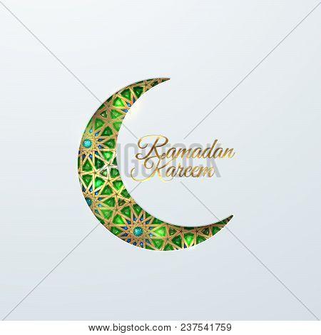 Ramadan Kareem. Eid Mubarak. Vector Islamic Religious Illustration Of Crescent Moon With Green Emera