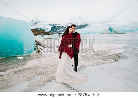 Iceland Wedding In Glacier Lagoon. Full Length, Wedding Outdoor