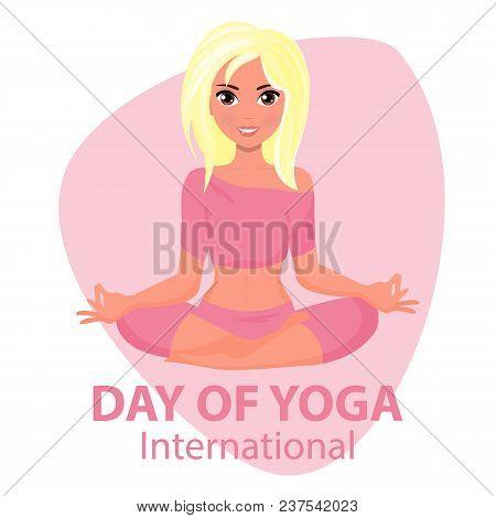 Vector Woman Practicing Yoga Pose, 21st June International Yoga Day, Vector Illustration. Illustrati