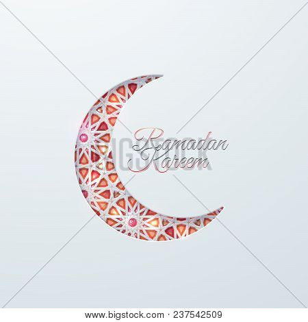 Islamic Crescent Moon With Brilliant Crystals And Girih Traditional Arabic Pattern. Vector Muslim Re