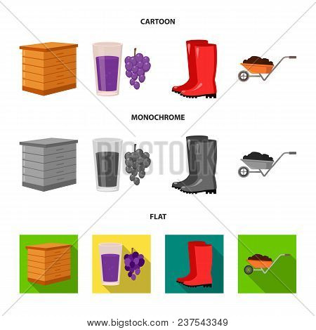Hive, Grapes, Boots, Wheelbarrow.farm Set Collection Icons In Cartoon, Flat, Monochrome Style Vector