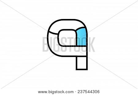 Alphabet Letter Q Logo Design With Black Border And Blue Color Suitable For A Company Or Business