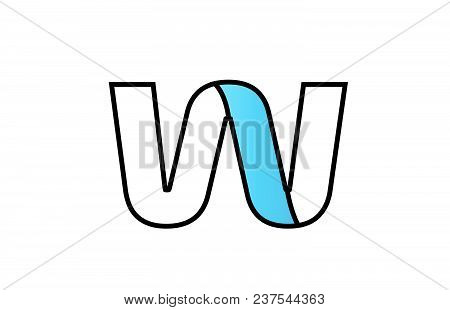 Alphabet Letter W Logo Design With Black Border And Blue Color Suitable For A Company Or Business