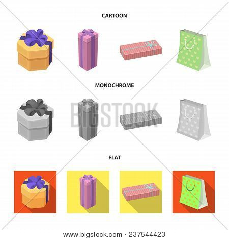 Gift Box With Bow, Gift Bag.gifts And Certificates Set Collection Icons In Cartoon, Flat, Monochrome