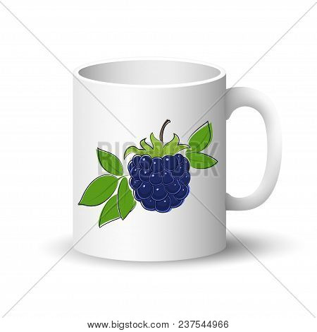 Cup Isolated On A White Background, Front View On A Mug With Berry Fruit Blackberry ,  Illustration