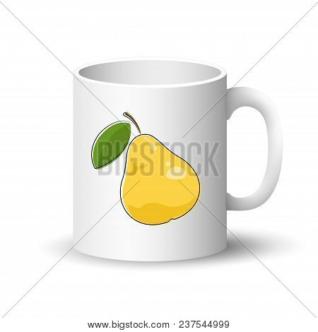 Cup Isolated On A White Background, Front View On A Mug With Fruit Yellow Pear ,  Illustration