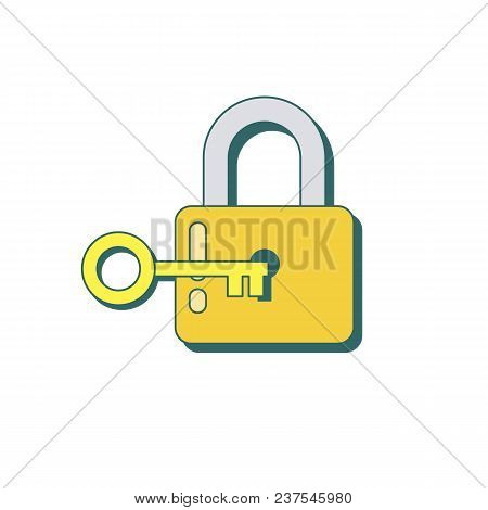 Lock With Key Icon In Flat Style With Shadow. Padlock With Key. Sign Unlocking, Access, Password. St