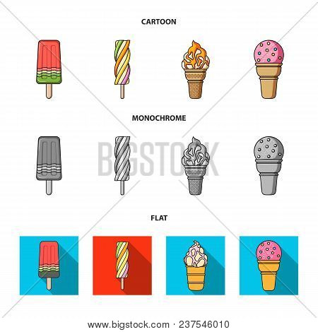 Ice Cream On A Stick, In A Waffle Cone And Other Species. Ice Cream Set Collection Icons In Cartoon,