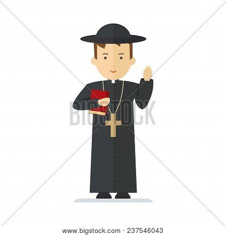 Catholic Priest. Pastor Reads Prayer, Holds Cross, Bible And Gospel, Bless Parishioners. Flat Vector